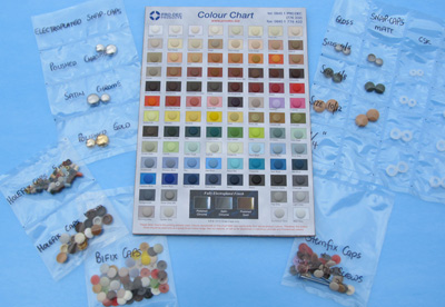 Our Samples Pack includes 1 cap of all 96 colours in our (in-stock) ranges of cover caps.